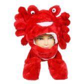 24 units of Red Warm Animal Winter Hat Tie Around
