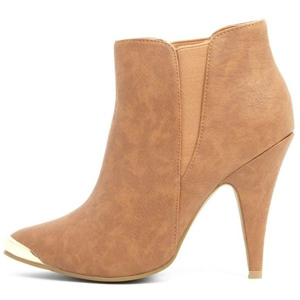 Anastasia Tan Leather Ankle Boots (£35) ❤ liked on Polyvore featuring shoes, boots, ankle booties, brown, tan ankle boots, tan leather boots, brown ankle boots, pointy-toe ankle boots and brown leather bootie