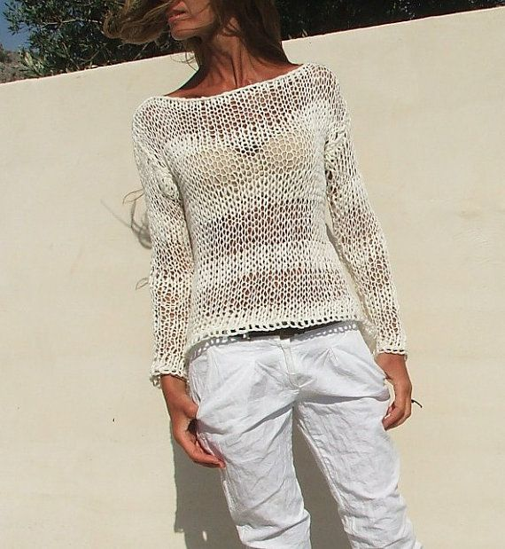 white sweater / White cotton mix loose knit / summer by ileaiye