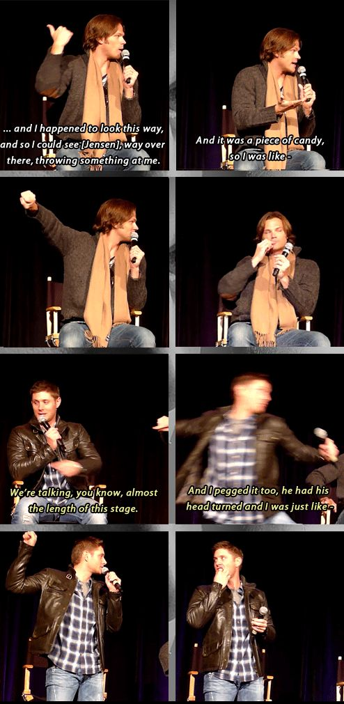 Jensen and Jared talk about the candy war in their trailer at convention panel