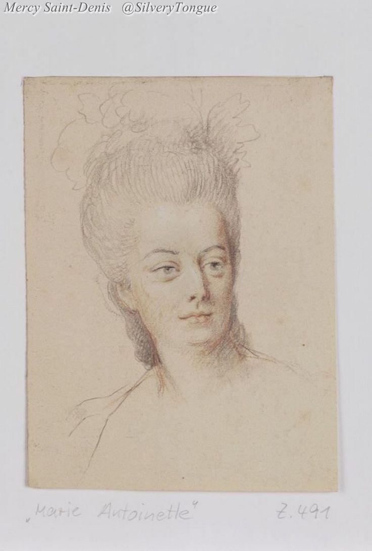Marie-Antoinette par Anton de Peters(1725-1795)Drawing of Marie Antoinette