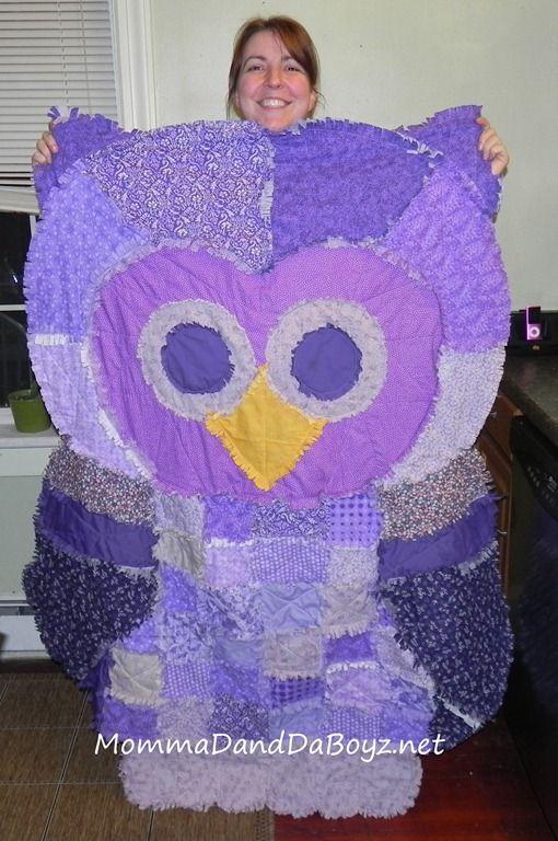 Owl Rag Quilt- cute gift idea