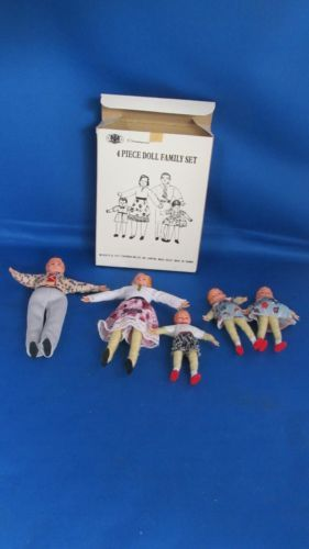 Vintage-Dollhouse-Miniature-Poseable-Family-Dolls-Chadwick-Miller-1977-NIB-1