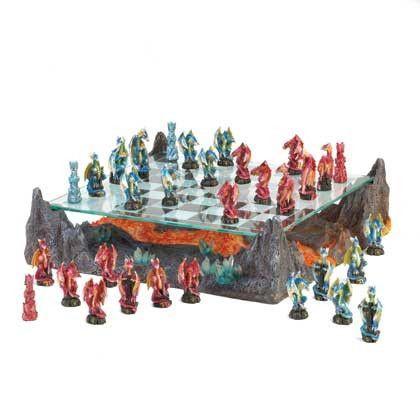 Fire River Dragon Chess Set