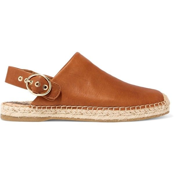 SAM EDELMAN   Jazzy leather espadrilles (170 TND) ❤ liked on Polyvore featuring shoes, sandals, sam edelman espadrilles, strappy leather sandals, strappy sandals, brown shoes and brown espadrilles