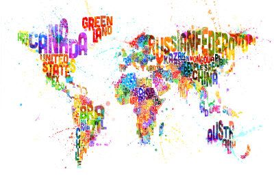 Paint Splashes Text Map of the World - Michael Tompsett