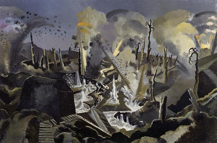 Paul Nash, 'The Mule Track' (1918) In The Mule Track, Nash presents the viewer with another terrifying scene. Amidst the chaos of a heavy bombardment the small figures of a mule train are trying to cross the battlefield. They are reduced to defenceless puppets at the mercy of terrible forces.