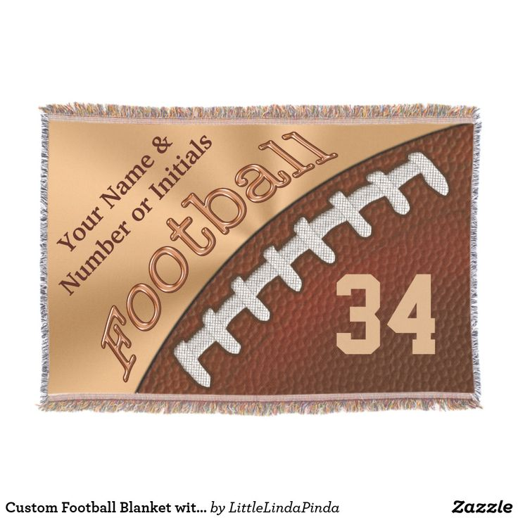 Personalized Football Blanket with Your NAME, JERSEY NUMBER, TEAM Name or Delete CLICK: https://www.zazzle.com/z/ozbak?rf=238147997806552929 CALL Zazzle Designer Linda: 239-949-9090 to design Football throw blanket in YOUR TEAM COLORS or changes to the design, different football blanket or different product. Football senior night ideas or personalized football team gifts. MORE football gift ideas HERE: http://www.zazzle.com/littlelindapinda/gifts?cg=196532339247083789
