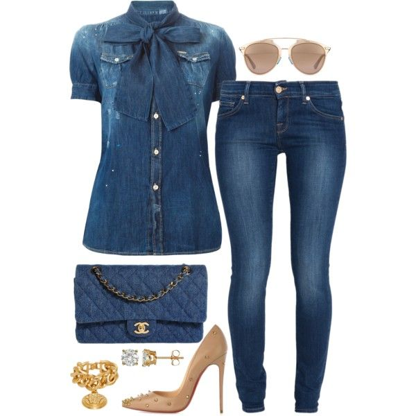 A fashion look from October 2015 featuring Dsquared2 blouses, 7 For All Mankind jeans と Christian Louboutin pumps. Browse and shop related looks.