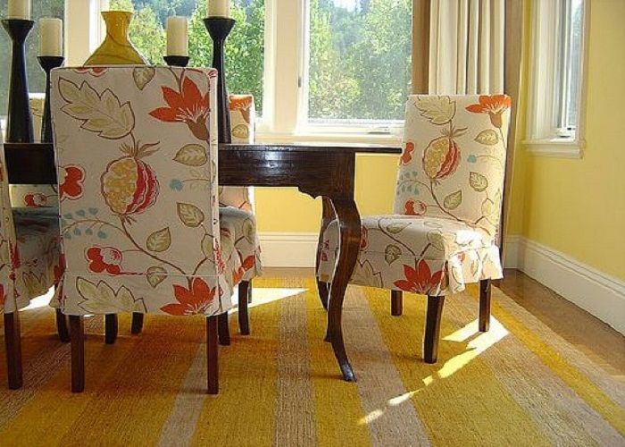 Flowers Motif Slipcovers For Dining Chairs Lanewstalk White