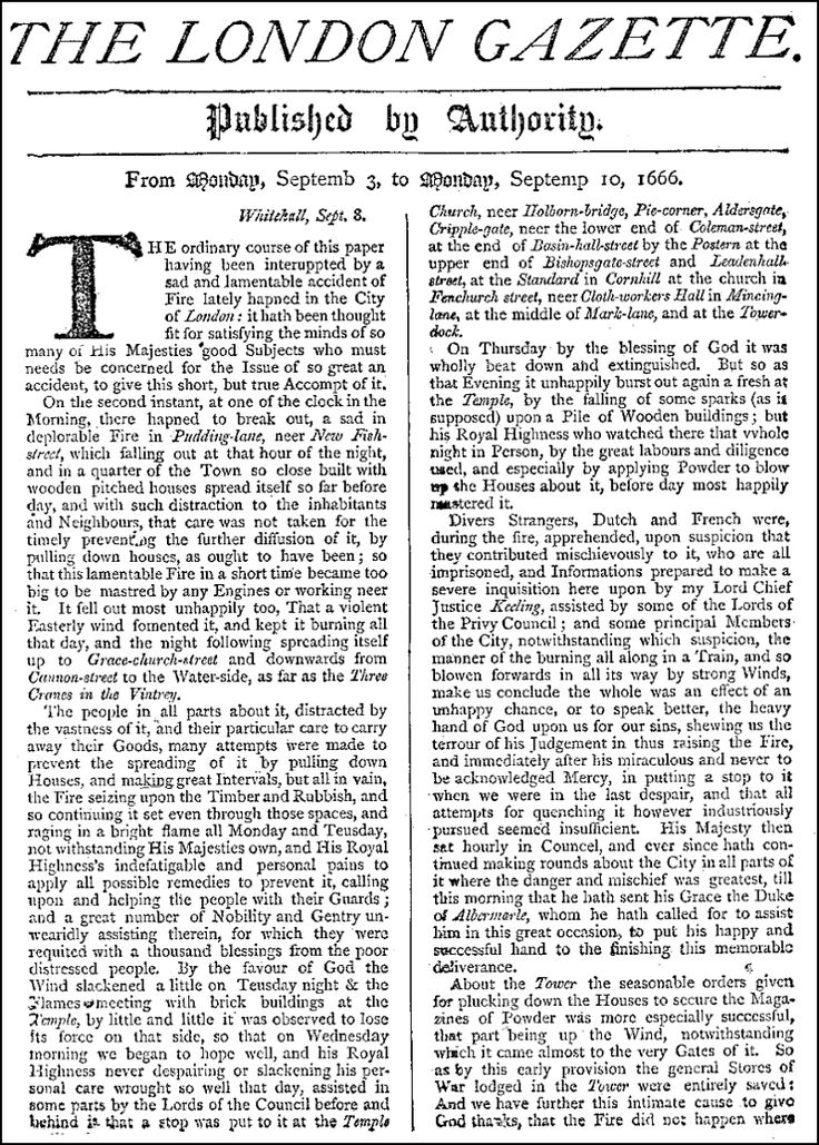 London-gazette.png (800×1119)  September 4th, 1666: The Great Fire of London did its most destruction