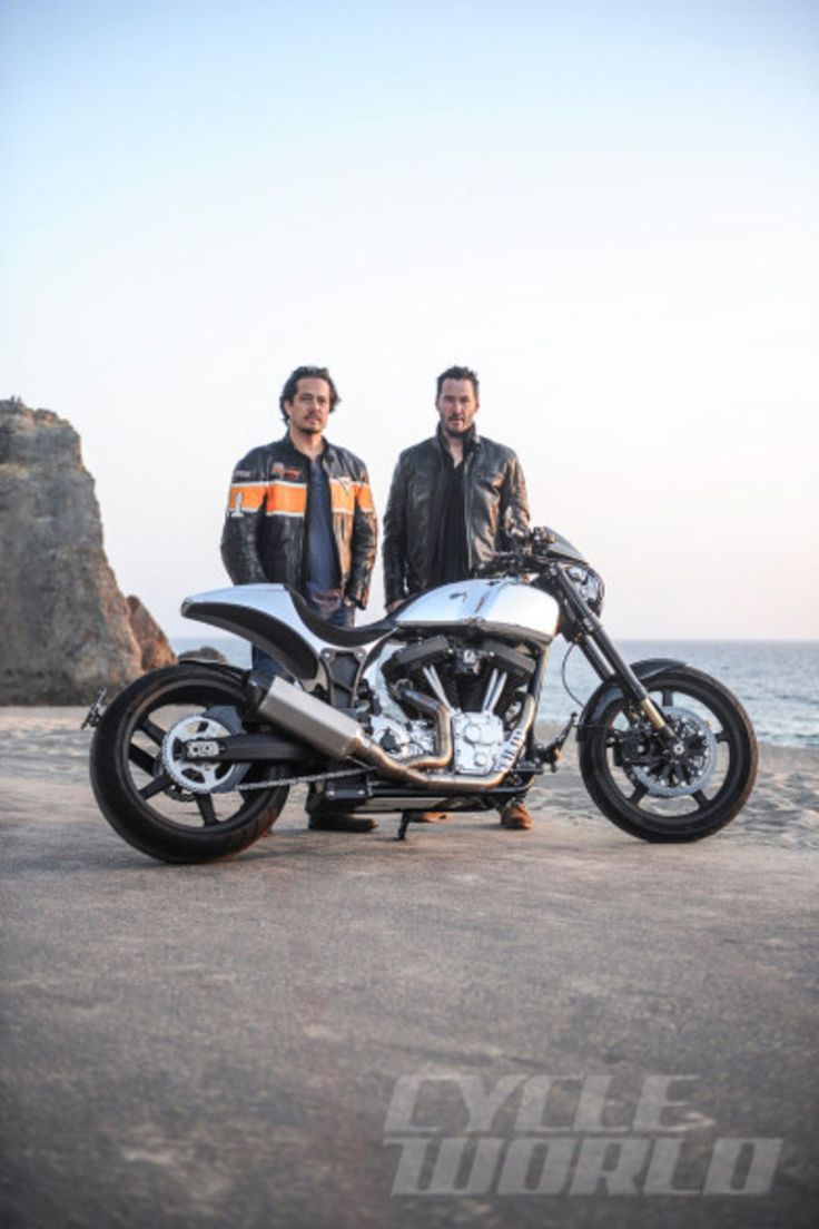 Hollinger/Reeves posing with the Arch Motorcycle Company KRGT-1