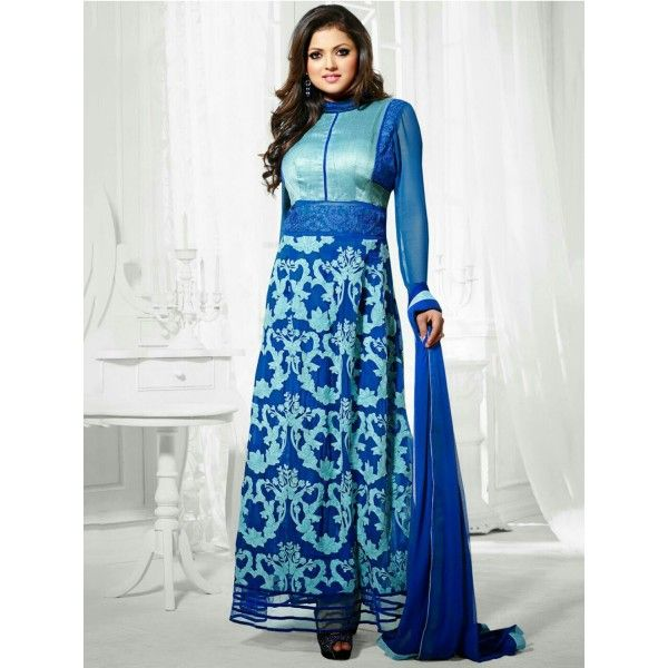 Drashti Dhami Georgette Blue Printed Unstitched Long Anarkali Suit - 6MC350