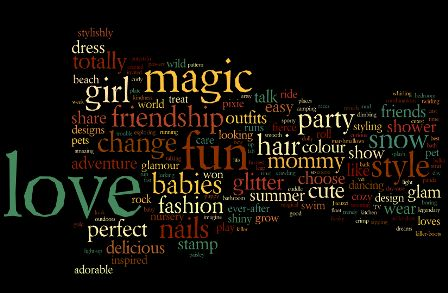 Words used in TV commercials for toys aimed at girls.