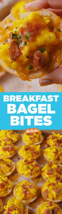 Breakfast Bagel Bites are the best thing to wake up to on a Saturday morning. Get the recipe from Delish.com.