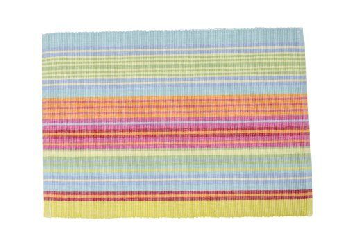 April Cornell Ribbed Placemat, Happy Stripe Multi, Set of 4 by April Cornell. $31.99. Happy stripe placemats with yellow, pink and blue hues. Set of four matching placemats, each measuring 14 by 19-inch. Sturdy ribbed weave. Machine washable. Made of 100-percent cotton. April cornell kitchen and home linens feature colors, shapes, patterns and designs inspired by the beauty of nature. Each item in april cornell's collection is made from fabric which was hand printed in...