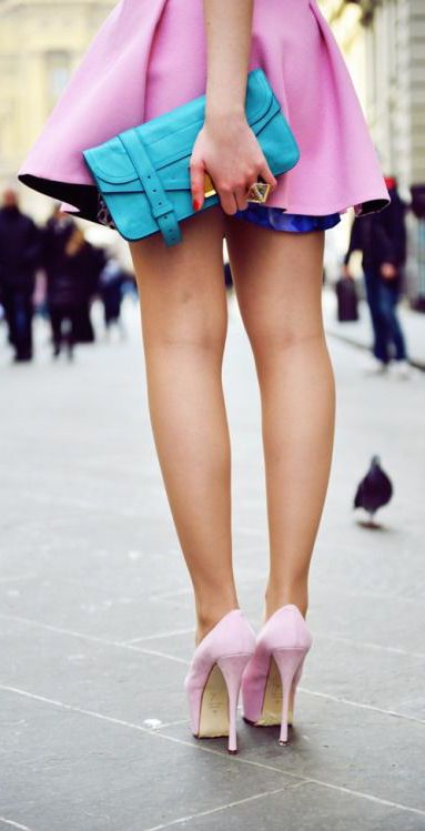 #street #fashion pink skirt + pink + blue color pop / summer @wachabuy