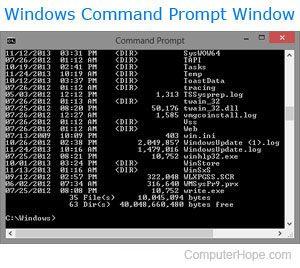 Windows DOS command prompt window