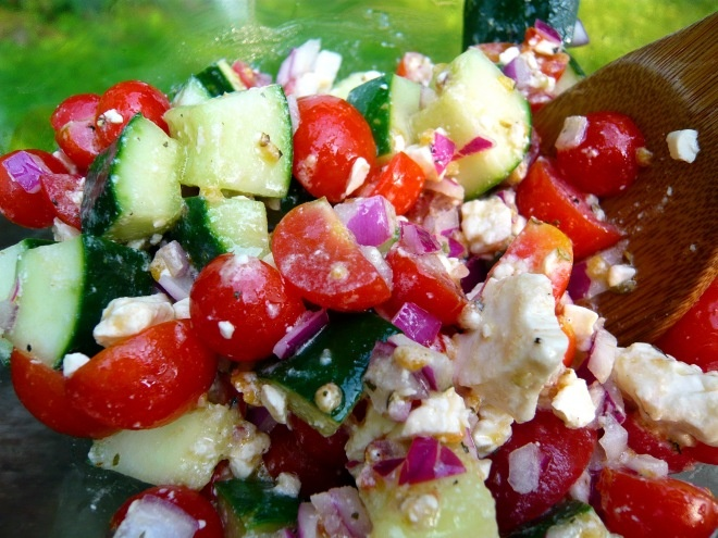Cucumber Tomato Feta Salad ~ cherry tomatoes, cucumber, red onion ...