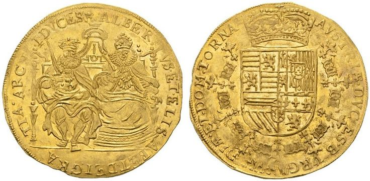 Tournai (Spanish Netherlands) AV 2 Souverain d'or ND 1598-1621 Albert and Isabella