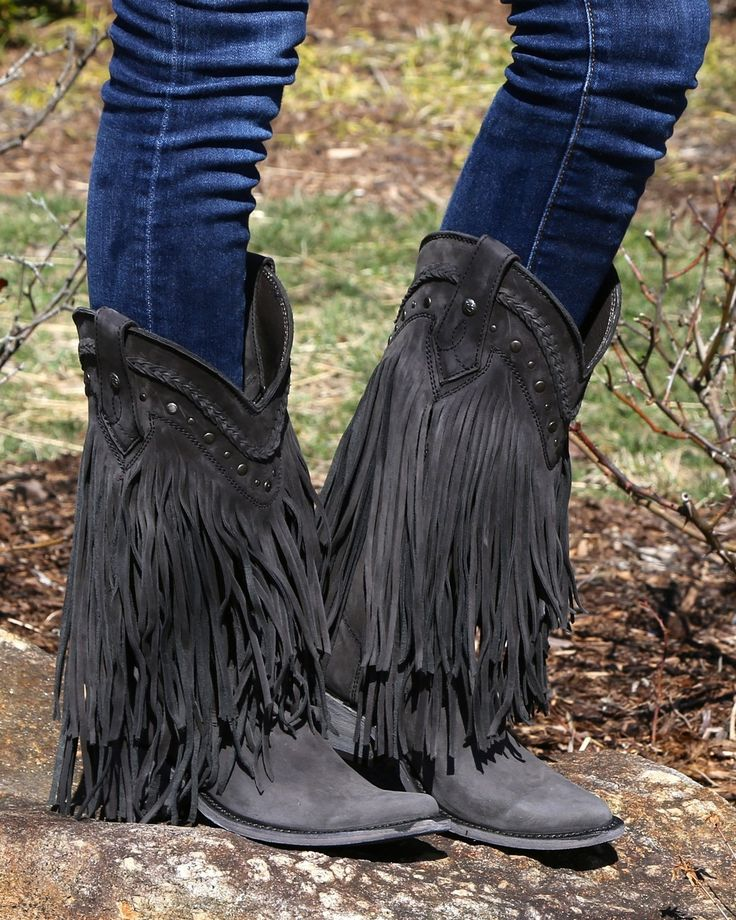 Liberty Black Vegas Fringe Boots Black
