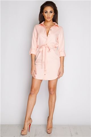 Megan McKenna Nude Belted Shirt Dress at misspap.co.uk