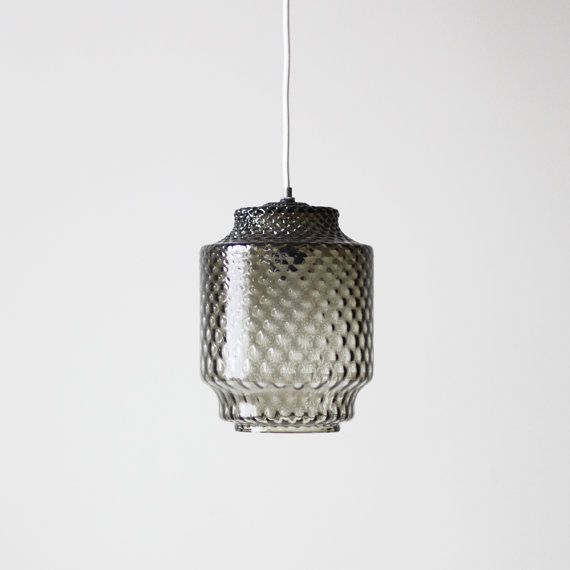vintage smoke glass shade light / textured swag lamp | HRUSKAA