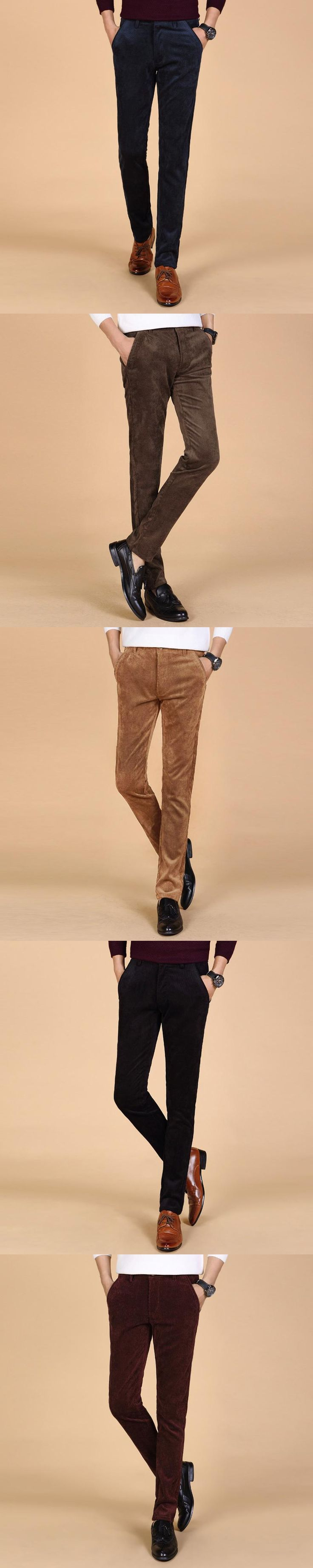 2017 New Arrival Spring and Autumn Men Corduroy Pants Solid Color Mid-waist Slim Business Affairs Directly Canister Casual Pants