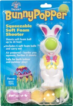 Add fun to your Easter gatherings with this squeezable bunny that shoots soft foam balls up to 20 feet. Air powered, so the harder you squeeze, the further it shoots. Safe for both indoor and outdoor