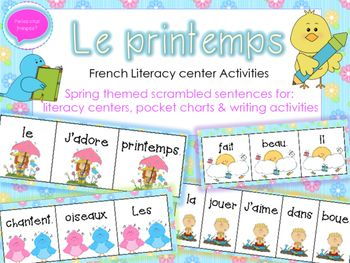 French Spring Vocabulary + Scrambled sentences - Great for centers/ pocket charts!