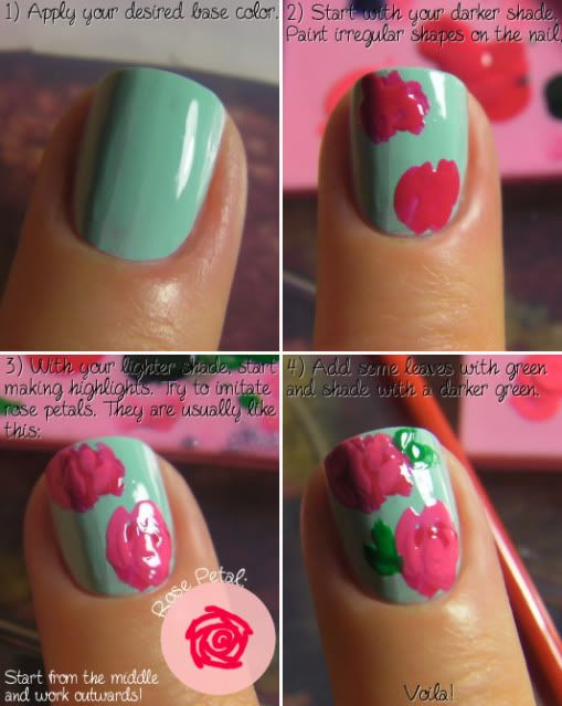How to paint roses: Floral Nails, Nailart, Flower Nails, Makeup, Rose Nails, Nail Design, Nail Art, Diy Nails