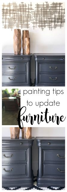 Grey Painted Nightstands. Painting tips to refinish furniture.