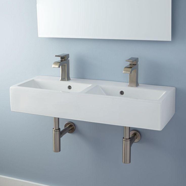 Double Bowl Wall Mount Bathroom Sink, Double Porcelain Bathroom Sink