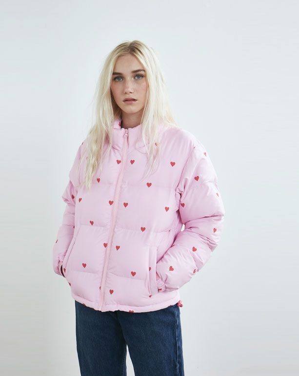 Lazy Oaf Romance Pink Puffer Jacket