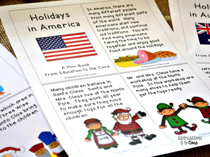 Education to the Core: FREE Holidays in America Mini-Book.  Holidays Around the World Unit and Close Reads.