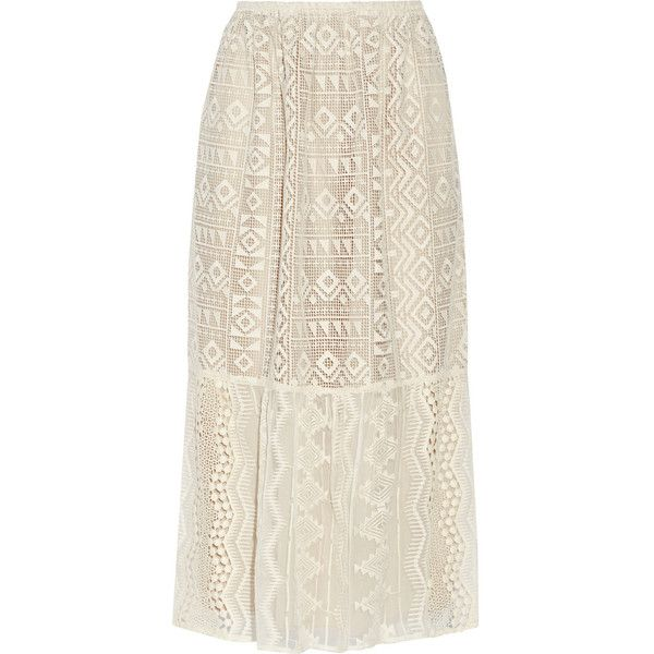 Anna Sui Silk georgette-paneled lace skirt (€330) ❤ liked on Polyvore featuring skirts, white, elastic waist skirt, anna sui, lace skirt, white lace skirt and white skirt