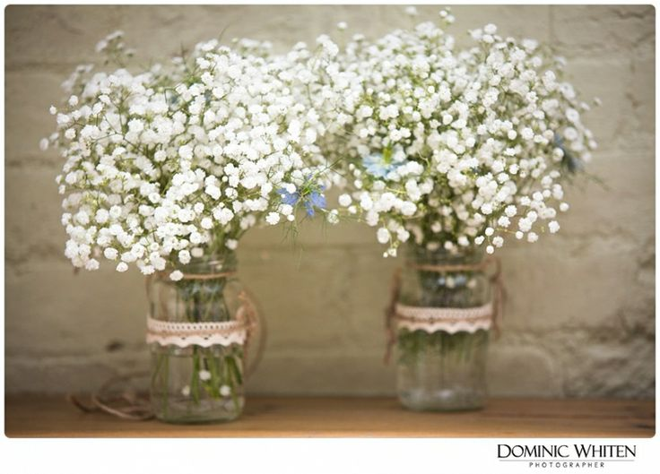 Rustic, gypsophila, jam jar, lace, wedding flowers.  More at: www.dominicwhiten.co.uk  Clare & Albert – A Summer Barn Wedding   Dominic Whiten Photography