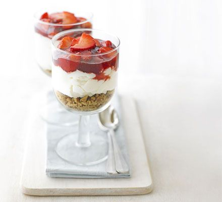 Strawberry cheesecakes    This speedy, low-fat recipe means you can enjoy creamy cheesecake without the guilt