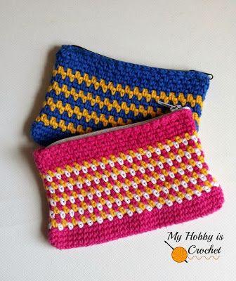 365 Crochet: Woven Stitch Zipper Pouch -free crochet pattern-