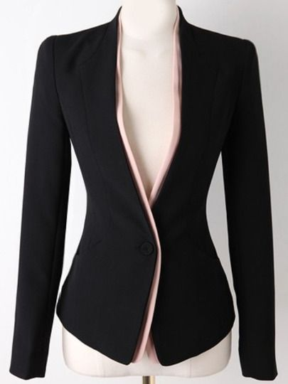 Black Long Sleeve Single Button Slim Blazer , High Quality Guarantee with Low Price!