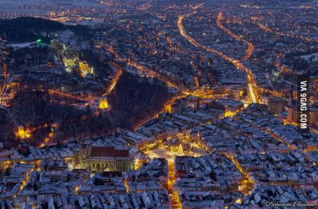 This is stunningly beautiful to me. Brasov Romania on a winter night.
