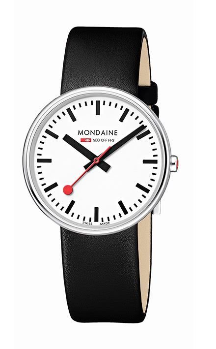 Like the original but now available in a diminutive 35 mm version, the Mondaine SBB Mini Giant is a desirable option to its Giant cousin. The absence of lugs creates the illusion of wearing the iconic Swiss Railways Clock on your wrist. Having no lugs means the watch rests closely on the wrist for comfortable everyday wear. Available in true Mondaine colourways, Red and Black, and with a milanese mesh bracelet version, it features the Mondaine SBB standard white dial, signature red seconds…