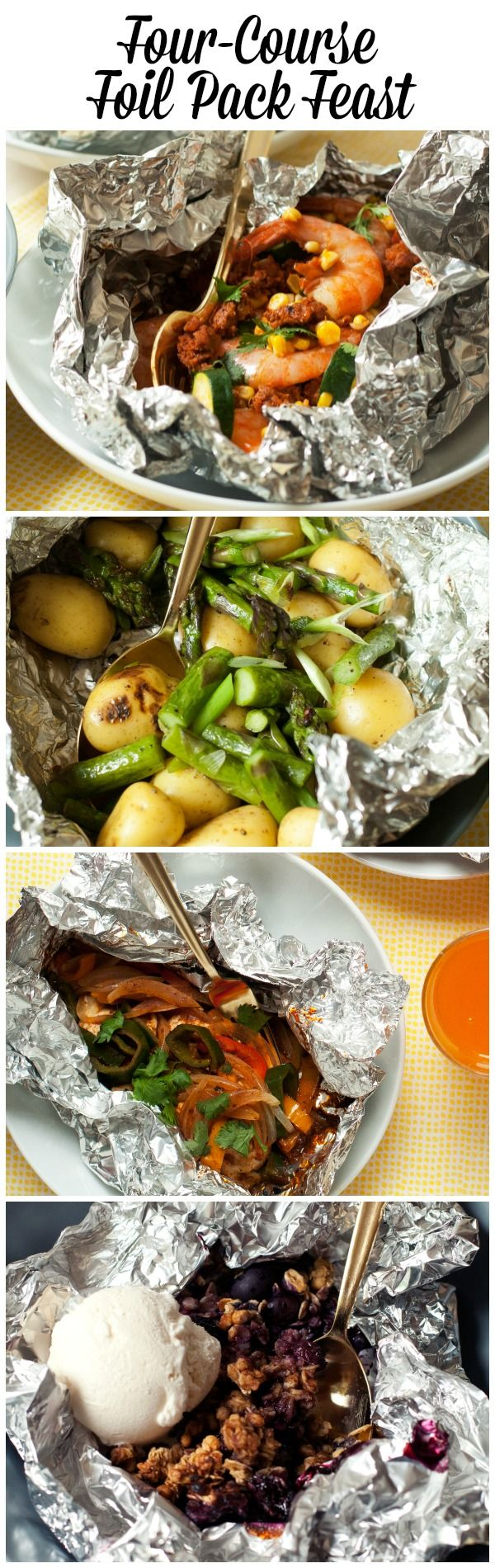 Paquetes de comida envueltos en papel aluminio para cocinar sobre brasas/al carbón