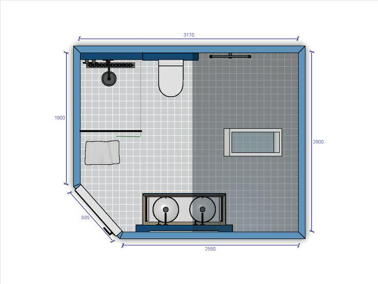 (Welbie Sanitair) Badkamer Millingen aan de Rijn. Badkamer ontwerp, schets, voor ruimte met schuin plafond, met inloopdouche, waskommen op een Primabad meubel en een Sanibroyeur.