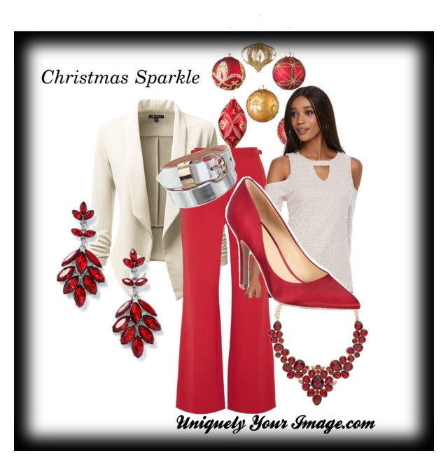 """Christmas Sparkle with Red"" by uniquelyyourimage on Polyvore featuring Improvements, Doublju, Gabriela Hearst, Napier, Jennifer Lopez, Charles by Charles David, Gucci and Miss Selfridge"