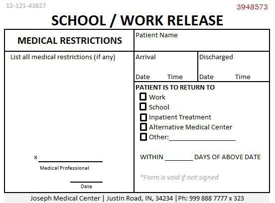 School Work Release Doctors Note Doctors Note For Work