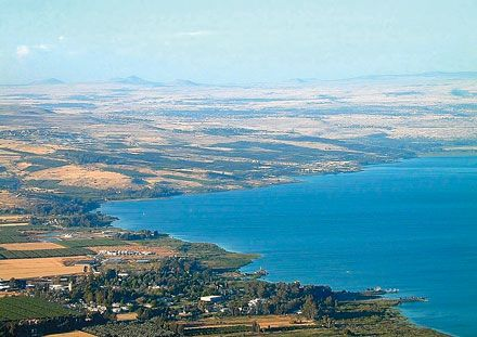 A beautiful panoramic view over the north-western corner of the Sea of Galilee, including Magdala, Tabgha and Capernaum...