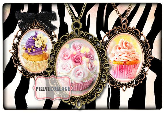 Cupcakes  Two Digital Printable Sheets 40x30mm and by PrintCollage, $3.90