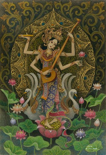 Dewi saraswati - goddess of knowledge. Balinese Hindus will celebrate Saraswati Day on 8 March 2014.
