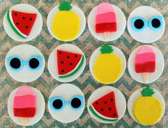 Piscina playa 12 toppers de cupcake de fondant por TopCakeDecors